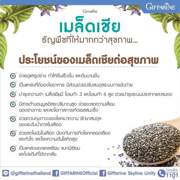 เมล็ดเชีย กิฟฟารีน, เมล็ดเจีย กิฟฟารีน, Giffarine Chia Seed, ช่วยระบบขับถ่าย, ท้องผูก,เบาหวาน